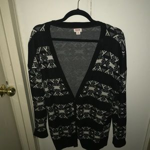 Black gray and white cardigan